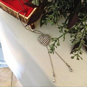 Rhinestone Silver Tone Adjustable Heart Necklace
